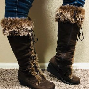 Impo knee brown suede boots with fur 8B